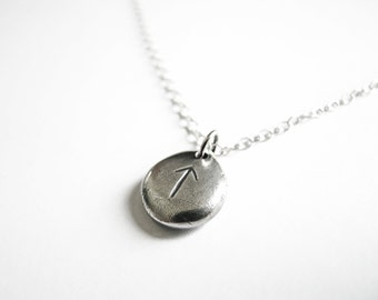 Silver Rune Necklace - Justice, Victory, Leadership (Tiwaz) - Elder Futhark Runic Alphabet - Sterling Silver Necklace