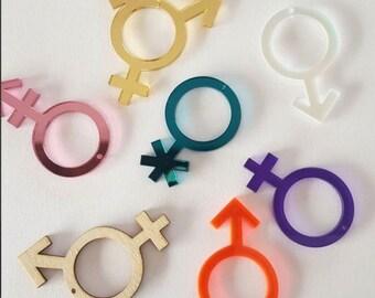 Gender Symbol Earrings - LGBTQ - Equality - Feminism - Gay Pride - Statement Earrings - LGBT
