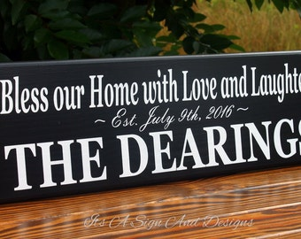 Wood Sign with Quote, Custom Last Name Bless our Home Sign, Sign with Quote, Wedding Gift, Shower Gift, Love and Laughter Sign Wooden Sign