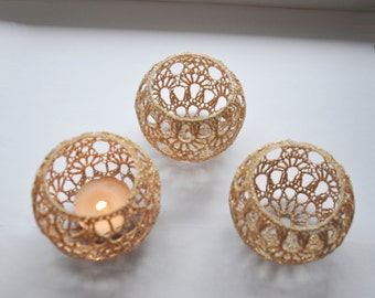 Crochet Candle Holders Wedding Table Centerpiece Set of 5, Wedding Lighting, Gold Table Decor, Party Wedding Decoration