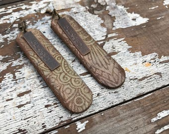Metal and Leather Earrings-Weathered-Speak Truth-Boho Earrings-Blessed