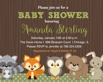 Woodland, Forest Friends, Baby Shower Invitation, Birthday, Neutral, Boy or Girl - Printable or Printed