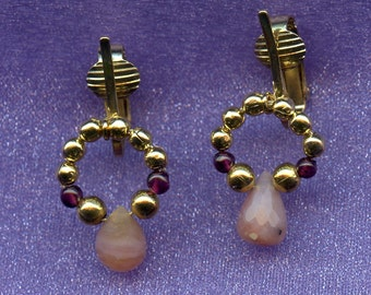 Pink Opal, Garnet, and Gold Clip-on Earrings