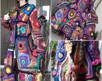 Crochet Bohemian Winter Coat /Freeform Winter COAT/Only to Order with your measures