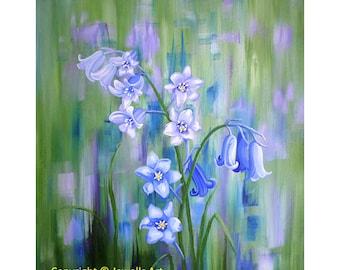 Bluebell Haze Fine Art Print, from my original bluebell acrylic painting, Floral Art Print, Wall Art, Giclée Print, Art & Collectibles