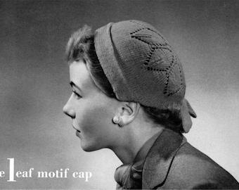 The Leaf Motif Cap, Vintage Knitting Hat Pattern - 1940s - PDF eBook