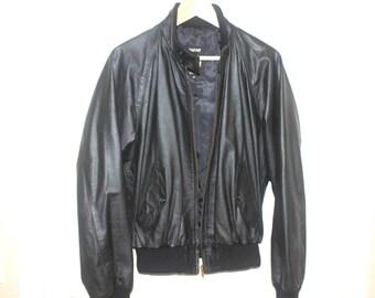 Vintage 1980'S Black Leather Jacket Cafe Racer Bomber Moto Motorcycle Made for AMERICAN EXPRESS Men's Medium Size 40