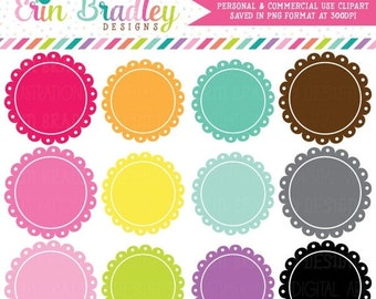 80% OFF SALE Scalloped Frames Clipart Clip Art Personal & Commercial Use Digital Scrapbooking