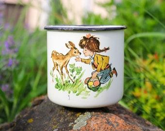 USSR Girl & Deer Cup  / Soviet Vintage White Enamel Mug, Mushroom Hunt / 1960's Rustic Tea Cup, Camping, Picnic, Travel, Coffee Cup