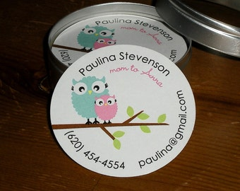 Owls : Calling Cards - Mommy cards in Tin - Set of 45 cards