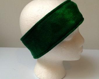 Green Fleece ear warmer, fleece headband, green blended fleece, winter wear