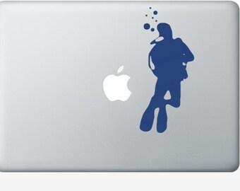 Scuba Diver laptop DECAL- macbook iPad computer- vinyl sticker- ocean