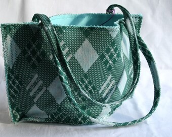 Tote Bag Vintage Preppy Plaid Green Aqua Limited Edition