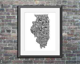 Illinois typography map art unframed print customizable state poster wedding engagement graduation gift anniversary personalized wall decor