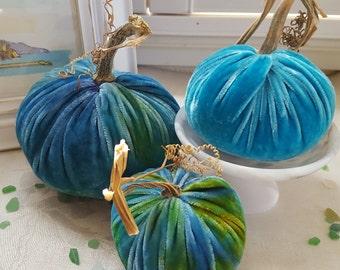 3 Silk Velvet Pumpkins with real Pumpkins Stems and 7 Silk Velvet Acorns with real Acorn Caps - #1726