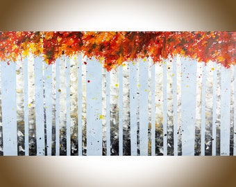 "Birch painting Autumn Birch tree painting on canvas large wall art wall decor home decor office decor ""Autumn Birch"" by qiqigallery"