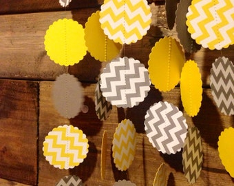 Grey and White Chevron and Yellow and White Chevron Paper Garland Birthday Party Decor, Baby Shower Decor, Nursery Decoration