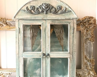 Shabby Chic Cupboard, Ornate Cabinet, Wood Painted Shelf, Girls Nursery,  Room Display