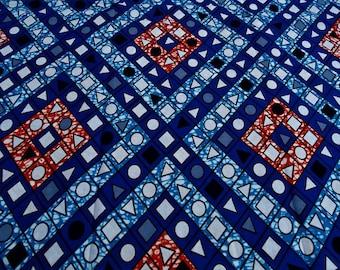 FABRIC African WAX fabric retro geometric pattern