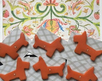 Woof Woof! Cute Vintage 1930s Double Sided Pumpkin Orange Bakelite - Early Plastic - Scottie Dog Buttons - Sewing Accessories [6 Available]