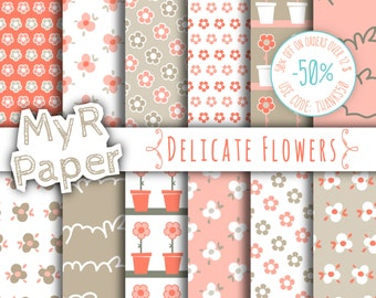 "Floral Digital Paper: ""Delicate Flowers"" Flowers Digital Paper Pack & Backgrounds in Light Pink, Coral, Greenish Gray and Fresh White"