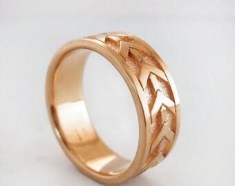 Men's Rose Gold Wedding Band   Heavy 7mm Rose Gold Wedding Ring   14K Recycled Rose Gold Ring  Eco friendly Wedding Ring