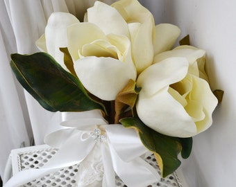 artificial flower real touch wedding bouquet white magnolia