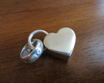 Sterling  Silver 925 Chunky Heart and ring / wedding band charm pendant