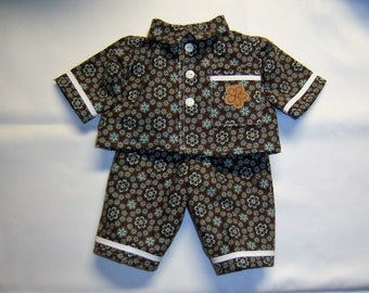 Handmade Cabbage Patch Doll Clothes  Pajamas Brown