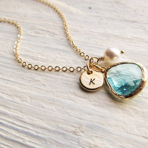 Aquamarine Charm Necklace, Gold Birthstone Necklace with Initial Disc and Pearl, March Birthday Jewelry, Aquamarine Jewelry Gift for Her