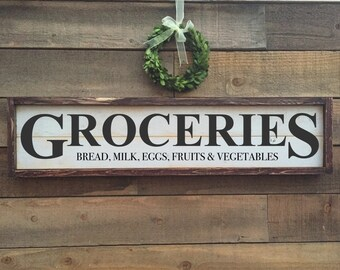 Grocery sign, framed shiplap, vintage Home Decor