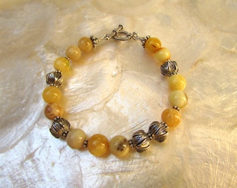 baltic butterscotch white amber bracelet silver with karen hill tribe beads sterling