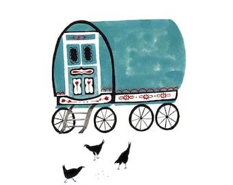 Illustrated Gypsy Caravan Print