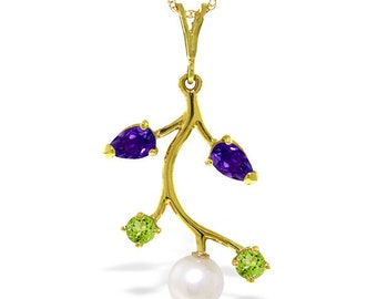 14K. gold necklace with  AMETHYST, PERIDOTS & PEARL yellow/white/rose gold