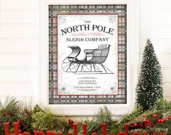 Christmas Decor - Christmas Printable - North Pole - Santa - Christmas Sign - Christmas Gift - Holiday Decor - Holiday Picture - 8x10- 11x14