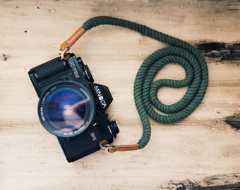 Green Camera Strap Camera Neck Strap Rope Strap Leather Camera Strap Vintage Camera