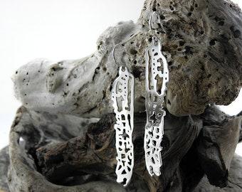 Long Wing Earrings, Sterling Silver Earrings, Biomorphic Earrings, Biomimicry, Sea Animal Earrings, Biomorphic Jewelry, Gift for Her