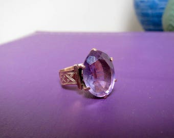 Lovely 10k Victorian Rose de France Amethyst Ring Size 4.75
