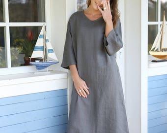 Long Wide Linen Dress | Japanese Style Loose Fitting Dress | Maternity Dress | Dress With Pockets | Kimono Sleeves | Oversized Dress