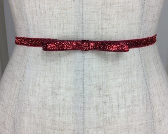 Red Holiday Party Bow Belt, Bridal Accessory Stretch Belt, Thin Dress Belt Wedding, Skinny Elastic belt, Bridesmaid Belt.