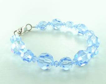 SALE: Light Sapphire Aurora Borealis AB BLUE Vintage Swarovski Crystal Bracelet Sterling Silver