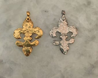 "Fleur de Lis Pendant, Hammered Large 1.5"" Gold OR Silver, With Bail, 2 Sided, NOLA, Pewter, 24k Gold Plate"