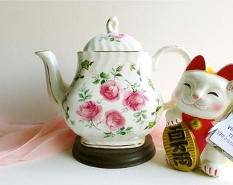 Vintage Crown Dorset 40 Oz. Pink Rose & Green Ivy Ceramic Teapot. Perfect for a Vintage Tea Party, Gift or Styling Prop