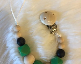 Green and Black Pacifier Clip- Item 102