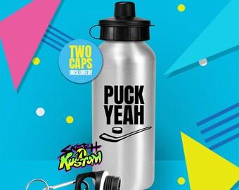 Ice Hockey Water Bottle / Ice Hockey Gifts / Funny Ice Hockey Water Bottle With Hockey Stick and Hockey Puck / Funny Sports Water Bottles
