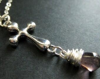 Silver Cross Necklace. Purple Necklace. Christian Necklace. Teardrop Pendant Necklace. Handmade Jewelry.