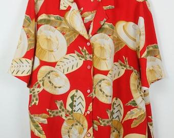 Vintage shirt, 80s clothing, shirt 80s, sunhat print, short sleeves, oversized