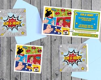 Comic Book Wedding Invitation Set // DIGITAL FILES //