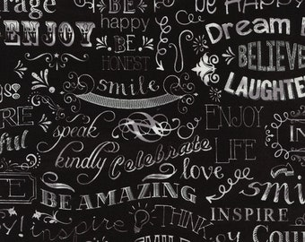 Fun from Timeless Treasures - Full or Half Yard of Chalkboard Words on Black