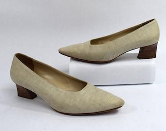 Anne Klein Vintage 80s Beige Canvas Pump Heels Size 8M Made in Italy